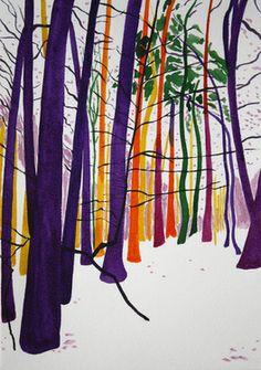 Snow forest 32 (purple, orange, yellow, pink and green trees) Nadja Gabriela Plein Painting Snow, Watercolor Paintings, Watercolor Artists, Abstract Paintings, Oil Paintings, Painting Art, Landscape Paintings, Watercolour, Saatchi Online