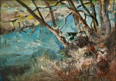 Trees at the River, oil on canvas