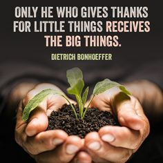 """Quote on being given great things by Dietrich Bonhoeffer. """"Only he who gives thanks for little things receives the big things."""""""