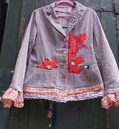 customized pinstripe jacket Upcycled