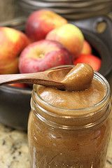 CROCKPOT APPLE BUTTER-- Used 8 cups of diced apples...used an immersion blender to get a smoother sauce.  Also, needed to cook on high for 2-3 hours at the end to thicken it.