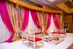 pink gold and white mandap