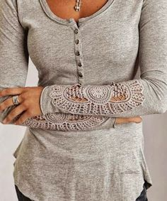 Grey Arm Lace Fall Shirt. Perfect with dark skinny jeans, knee high brown suede boots, and a scarf!