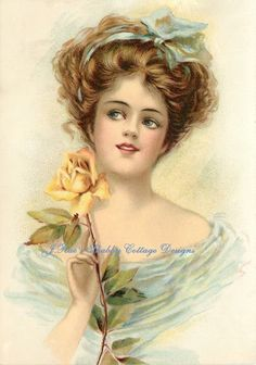 Stunning Victorian Lady Pretty Yellow Roses Repro Print Fabric Block5X7 Or 8X10