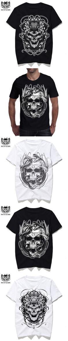 Rocksir 3D print Skull Designs Creative T-shirt Men's clothing Casual white T-shirts streetwear mens t shirts Cotton tee shirt