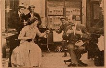 Still from the 1910 silent film The Girl Reporter.  The film is lost.