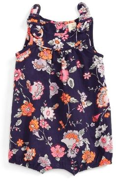 Infant Girl's Tucker + Tate Floral Print Romper  Rompers are one of my favs! They are easy, adorable and one piece. There's no matching or mixing. Just wearing and being cute.