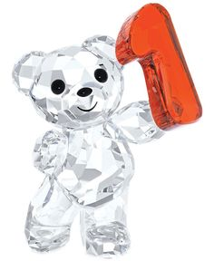 For the first time, the famous Swarovski Kris Bears are available in a smaller size. Each one sparkles in clear crystal with a colored crystal number (in this case, 1) presented in a playful way. For