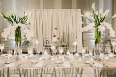 How dreamy is this all white wedding with fuschia details? Tall Centerpiece, Centerpiece Ideas, Centerpieces, Table Decorations, Wedding Ceremony, Reception, All White Wedding, Grand Hyatt, White Lilies