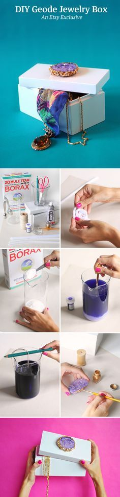 Whip up a beautiful, crystal-topped jewelry box in a single day. Borax crystals, home science projects, geodes, sparkly things.