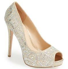 'Elissa' Crystal Peep Toe Pumps by Lauren Lorraine | Quinceanera Shoes |