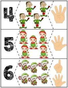 Teach counting skills with these elves! Great for teaching counting skills and number recognition for Quick prep and great for math centers! Autism Activities, Preschool Education, Preschool Lessons, Teaching Kindergarten, Preschool Learning, Toddler Preschool, Preschool Activities, Preschool Christmas, Noel Christmas