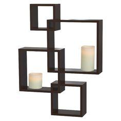 Threshold� Interlocking Display Shelf with 2 LED Candles - Espresso