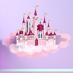 azutura Princess Castle & Clouds Wall Sticker Fairytale Wall Decal Girls Bedroom Decor Available in 8 Sizes XX-Large Digital Pink Castle, Princess Castle, Pink Princess, Wall Decal Sticker, Wall Stickers, Disney Artwork, Nursery Wall Decor, Bedroom Decor, Princess Coloring