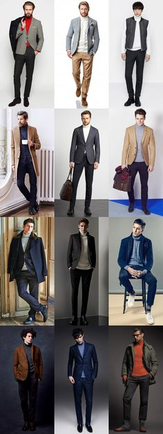 Men's Roll/Turtle/Polo Neck Jumpers Outfit Inspiration Lookbook