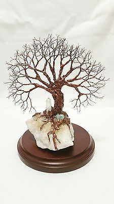 Copper Wire Tree Of Life Art Sculpture On A White Quartz Crystal Cluster W/ Base