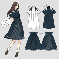 """❀花月❀予約販売中 on Twitter: """"狩衣セーラー📚夏服と冬服… """" Japan Fashion, Fashion Art, Fashion Outfits, Street Fashion, Fashion Design Drawings, Fashion Sketches, Drawing Anime Clothes, Clothing Sketches, Illustration Mode"""