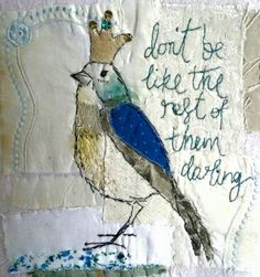 Embroidery machine ideas projects textile art ideas for 2019 Free Motion Embroidery, Embroidery Applique, Embroidery Stitches, Embroidery Patterns, Machine Embroidery, Thread Art, Thread Painting, Fabric Birds, Fabric Art