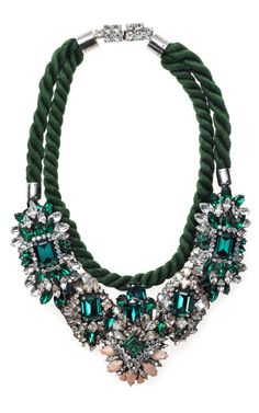 Shourouk rope and emerald crystal bib