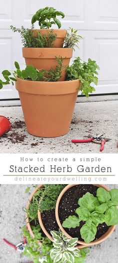 Learn how to create a Rental friendly Stacked Herb Garden It s perfect for a small patio an apartment balcony or having fresh herbs nearby your back door Delineate Your Dwelling stackedherbgarden apartmentplants # Apartment Herb Gardens, Balcony Herb Gardens, Apartment Balcony Garden, Small Herb Gardens, Small Balcony Garden, Apartment Plants, Balcony Plants, Apartment Balconies, Patio Plants