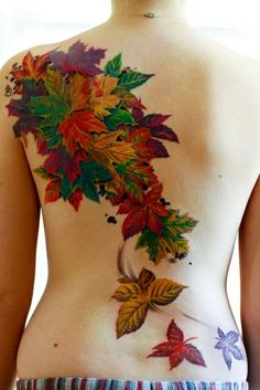 Leaf tattoo. Wish I knew the artist on this. The color is phenomenal.