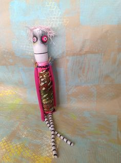 """Pink-haired Anxiety Faerie art doll with button eyes and embroidered and painted details from Etsy-Snotnormal. """"Poke around and pick something out!"""""""