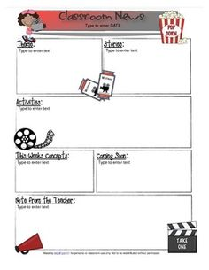 Downloadable Hollywood or Movie Day Newsletter Templete. All you have to do is download and start typing! THIS is perfect for my classroom theme.