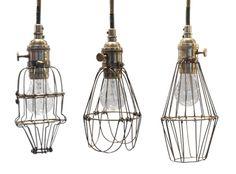 jayson home -workshop cage light Eclectic Pendant Lighting, Industrial Lighting, Modern Industrial, Vintage Lighting, Chandelier Lighting, Modern Lighting, Lighting Ideas, Wire Lighting, Design Industrial