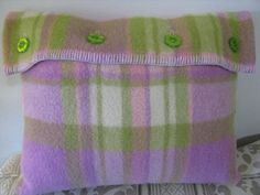 Vintage upcycled woolen blanket cushion cover in lime, pink, mauve and cream with lime buttons.