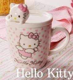 Amazon.com: Hello Kitty Ceramic Coffee Mug Set with Lid / Hello Kitty Angel Porcelain Figure: Everything Else
