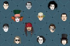 Johnny Depp wallpaper pattern print featuring the many characters of Johnny Depp : Edward Scissorhands, Ed Wood, Madhatter (Alice in Wonderland), Jack Sparrow (Pirates of the Caribbean), Ichabod Crane (Sleepy Hollow), Willy Wonka (Charlie & the Chocolate Factory), George Jung (Blow), Barnabas Collins (Dark Shadows), Donnie Brasco and Raoul Duke (Fear & Loathing in Las Vegas). See close ups on www.imkittyrouge.blogspot.com  by Kitty Rouge