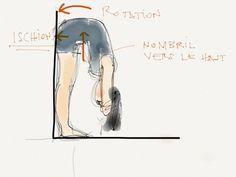 """Préparation aux """"flexions avant"""" au mur (paschimottanasana)"""