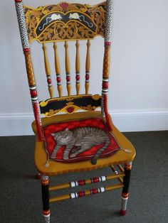 Funky Painted Wood Chairs | Painted Cat Chair Mixed Media by Andrea Ellwood - Painted Cat Chair ...
