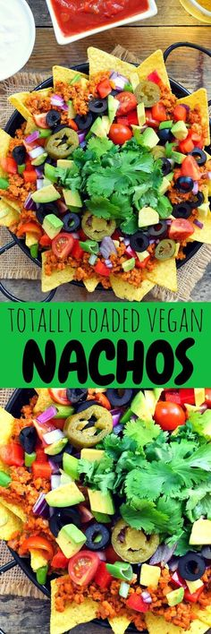 Get In My Belly! Totally loaded vegan nachos with a little bit of everything. Super fresh, savory and a little spicy these nachos are perfect to enjoy with a cold beer on a sunny patio with good friends. Vegan Foods, Vegan Snacks, Vegan Dishes, Healthy Snacks, Vegan Meals, Vegan Mexican Recipes, Vegetarian Recipes, Vegan Life, Raw Vegan