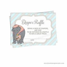 New Dumbo Baby Shower Diaper Raffle Tickets – Storybook Design Studio Dumbo Baby Shower, Baby Dumbo, Baby Shower Diapers, Baby Shower Party Favors, Baby Shower Parties, Baby Shower Invitations, Dumbo Birthday Party, Diaper Raffle Tickets, Star Baby Showers