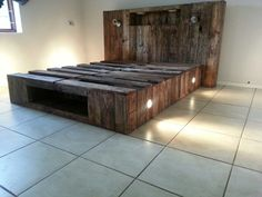 Queen bed with lights and powerpoints built into headboard Built by Rastik Pallet Furniture Bed Lights, Queen Beds, Pallet Furniture, Bench, Storage, Building, Collection, Home Decor, Purse Storage
