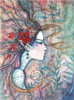 Title: Red Flower Mermaid  Size: 9 x 12 inches    Here is a beautiful fine art print printed in archival, pigment based inks on slight textured