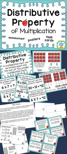 Distributive Property of Multiplication - step by step posters, task cards, assessent