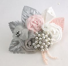 Brooch Groom Boutonniere- Boutonniere with Brooch, pearls and Handmade Flowers in Silver, Blush Pink and White on Etsy, $38.25 AUD