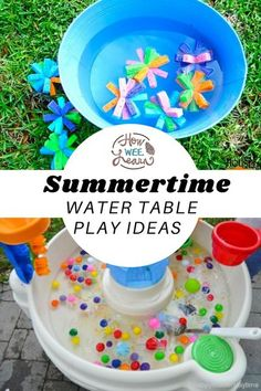 These water play activities are full of learning and fun for preschoolers and perfect for summer time! Water Play Activities, Summer Preschool Activities, Educational Activities For Preschoolers, Outdoor Activities For Toddlers, Water Games For Kids, Sensory Play, Infant Activities, Preschool Ideas, Family Activities