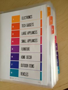 BINDER FOR  all manuals, warranties, receipts  organized