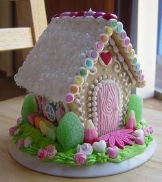Valentine's sugar cookie house, front