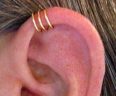 "No Piercing Handmade Helix Cuff Ear Cuff ""Triple Loops"" 1 Cuff Color Choices. $6.00, via Etsy."