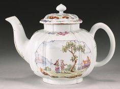 An unusual Worcester teapot and cover circa 1754-56