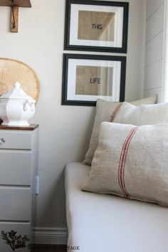 Want make these for seat cushions...Grain Sack Pillows by The Wood Grain Cottage