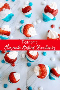Looking for a healthier and super easy of July dessert? Look no further than these patriotic cheesecake stuffed strawberries. You can have these finished in under 20 minutes, making them a fast holiday dessert perfect for picnics. Picnic Desserts, Healthy Fruit Desserts, Healthy Sweet Snacks, Small Desserts, Sweet Desserts, Patriotic Desserts, 4th Of July Desserts, Holiday Desserts, Patriotic Party