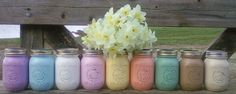 10 Painted Mason Jars Rustic Country Barn Vintage Wedding Flower Candle Holder