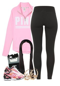 """Untitled #1372"" by lulu-foreva ❤ liked on Polyvore featuring Victoria's Secret PINK and adidas Originals"