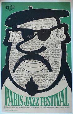 Miles Davis – Dave Brubeck – Herbie Hancock – Roland Kirk and many more – 1964 Paris Jazz Festival Jazz Festival, Festival Posters, Concert Posters, Theatre Posters, Music Posters, Jazz Poster, Blue Poster, Gig Poster, Sam Rivers