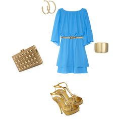blue silk dress with gold accessories...